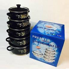 Набор кастрюль эмалированных PREMIER 5 шт со стеклянной крышкой, фото 2
