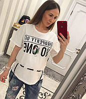 fa40663551b Свободная женская летняя футболка с широким рукавом tez331788