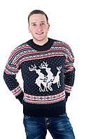 Прикольный мужской свитер с оленями синий