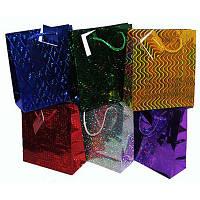 Пакет подарочный блестящий голограмма средний (17х22 см) в ассортименте