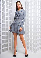 Приталенное платье пиджак в клеточку , фото 1