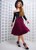 Плиссированное платье с открытыми плечами , фото 1