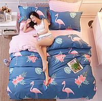 Постельное белье Фламинго саржа 100% хлопок комплект полуторный кровать 1.2м