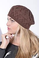 Берет женский вязаный Наталка 0019Н шоколадный
