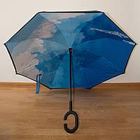 """Зонт обратного сложения, смарт зонт - """" Облака"""" (5505)"""