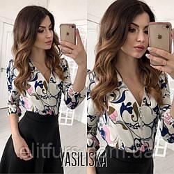 Блуза с красивым узором, декольте молния + (2 цвета)
