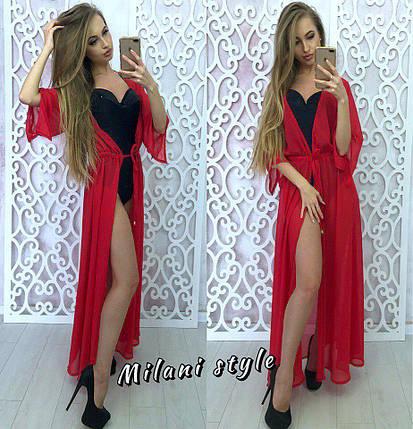 Красное пляжное длинное платье халат, фото 2