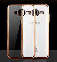 Чехол Frame для Samsung J5 2015 / J500H / J500 / J500F Бампер силиконовый Gold, фото 1