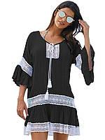 Черная женская туника с белым кружевом, фото 1