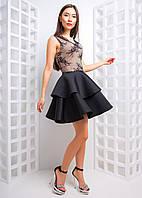 Приталенное платье с кружевным верхом, фото 1