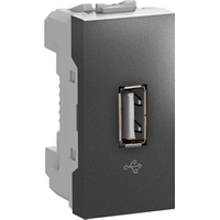 Розетка USB 2.0 1-мод. Графит Unica Schneider, MGU3.429.12