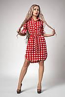 Яркое летнее платье с коротким рукавом в красную клетку  размер: 44, 46, 48, 50