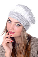 Берет женский меланжевый Наталка 0018Н светло серый+белый