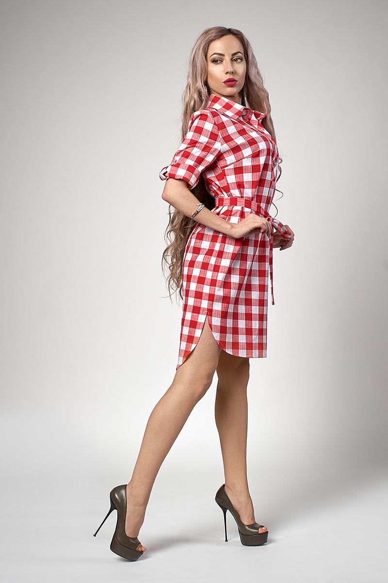 324e329ca4111 Молодежное платье из хлопка в принт красная клетка размер: 44, 46, 48,
