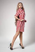 Молодежное платье из хлопка в принт красная клетка  размер: 44, 46, 48, 50