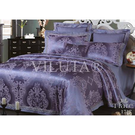 Элитный комлект постельного белья сатин жаккард Tiare евро 1717, фото 2
