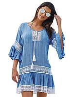 Голубое платье - туника с белым кружевом, фото 1