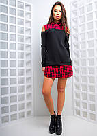 Платье-рубашка в клетку, фото 1