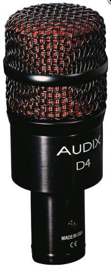 Динамический инструментальный микрофон AUDIX D4 для томы, кахон, джембе, саксофон, тромбон, акустический бас
