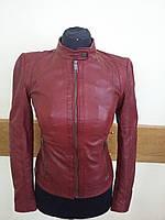 Кожаная женская куртка бордовая Moze