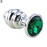 Ребристая анальная пробка с кристаллом металлическая зеленая