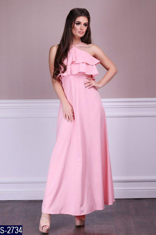 beb96c4f336 Длинное летнее платье сарафан с рюшами на груди - Интернет-магазин