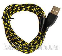 Кабель USB-micro USB круглый в оплетке (черный) 2м