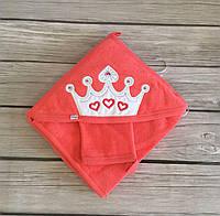 Уголок для купания оранжевого цвета с вышивкой короны, в наборе с рукавичкой