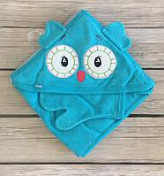 Уголок для купания бирюзового цвета с вышивкой совы в наборе с рукавичкой