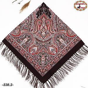Коричневый павлопосадский платок Княжий