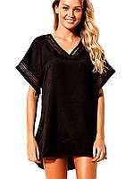 Пляжное черное платье - туника, фото 1