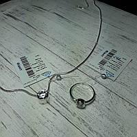 Комплект серебряный подвес + кольцо