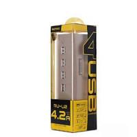 ЗУ сетевое Remax Gold House RU-U2 4.2A 4*USB gold-black 220V евровилка (EN), фото 1