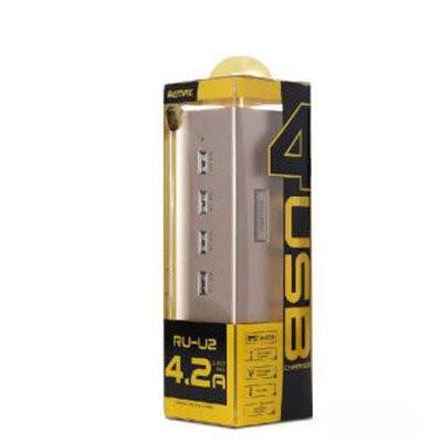 ЗУ сетевое Remax Gold House RU-U2 4.2A 4*USB gold-black 220V евровилка (EN)