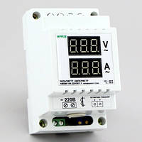 Цифровой вольтметр амперметр (вольтамперметр) переменного тока на DIN-рейку (100А,100-400В) АМВМ-100.220/D01.1, фото 1