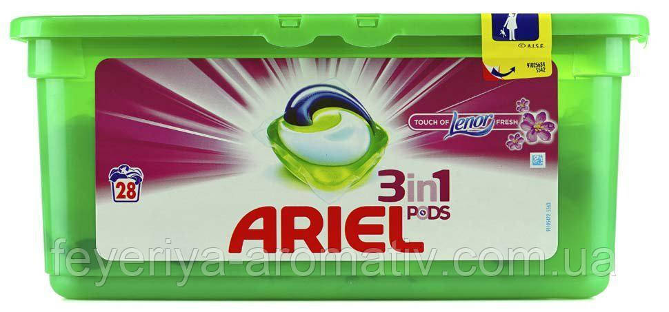 Капсулы для стирки Ariel 3in1 PODS Touch of Lenor Fresh 28 шт.