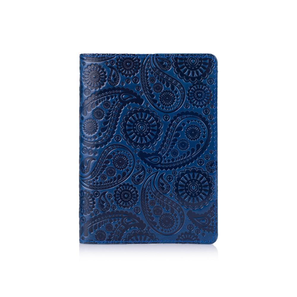 """Обкладинка для паспорта шкіряна з художнім тисненням Crystal """"Buta Art"""". Колір блакитний"""