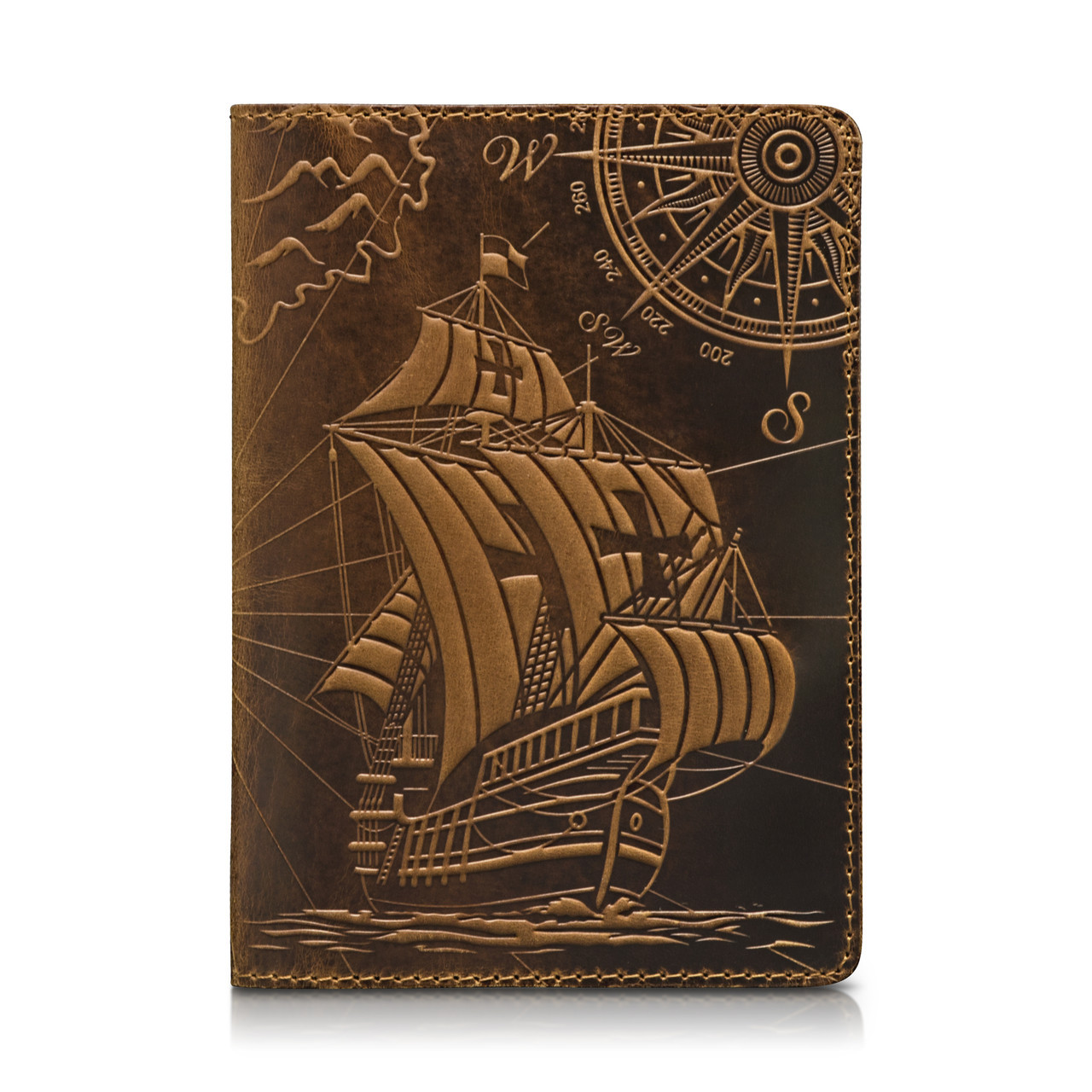 """Обложка для паспорта кожаная с художественным тиснением """"Открытия"""". Цвет рыжий"""