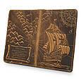 """Обложка для паспорта кожаная с художественным тиснением """"Открытия"""". Цвет рыжий, фото 5"""