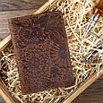 """Обложка для паспорта кожаная с художественным тиснением """"Искусство мехенди"""". Цвет рыжий, фото 5"""
