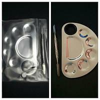Палитра для смешивания красок металлическая с лопаткой 12х8.5см