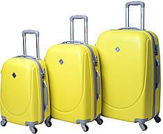 Набір валіз / чемоданів полікарбонат Bonro Smile 3 штуки жовтий на коліщатках 4 колеса. гарантія 25 місяців