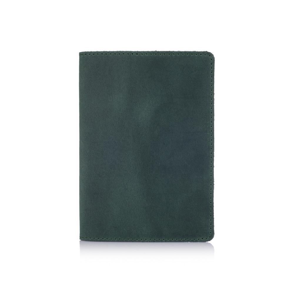 Обкладинка для паспорта шкіряна без декору Shabby. Колір зелений