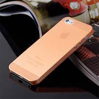 Пластиковый чехол для iPhone 5 5s 0.3мм оранжевый