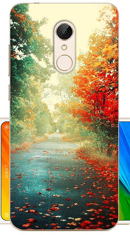 Панель накладка силиконовая для Xiaomi Redmi 5 с картинкой осенняя дорога, фото 2