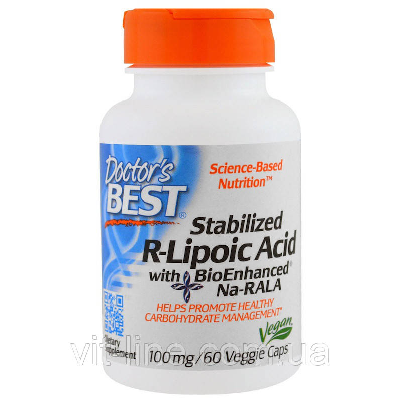 Doctor's Best, Стабилизирующая R-липоевая кислота (Best Stabilized R-Lipoic Acid), 100 мг, 60 растительных кап