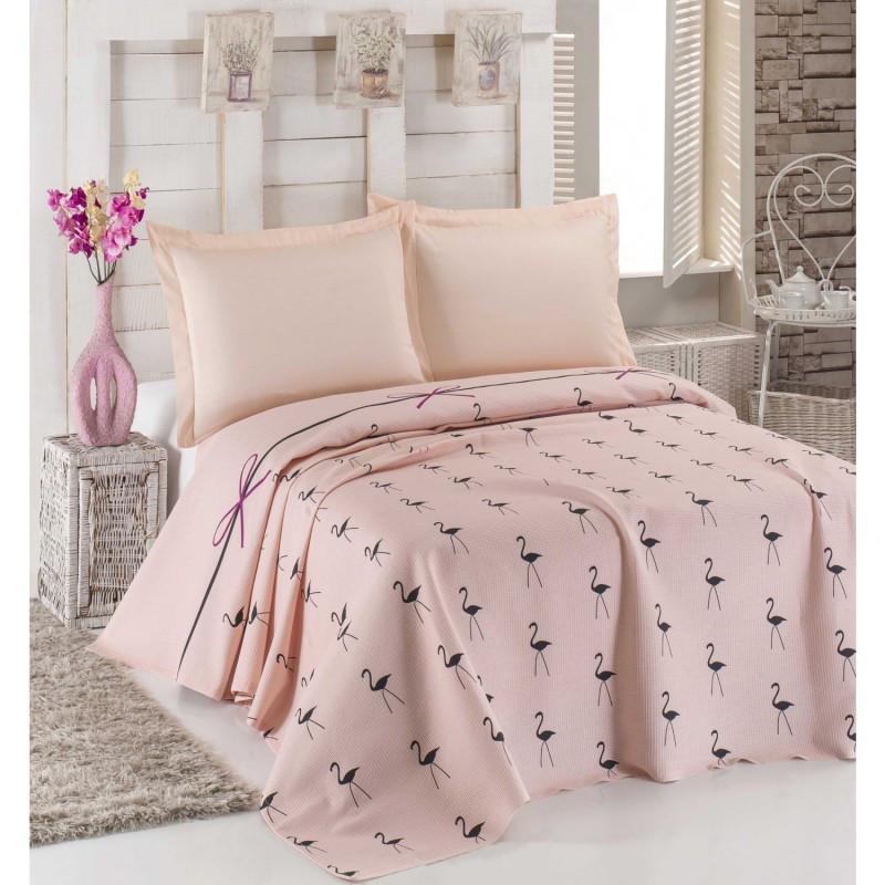 Покрывало пике Eponj Home - Flamingo Pudra  вафельное 160*235 см