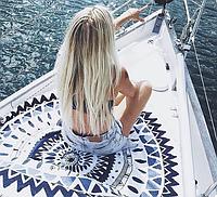 Пляжний килимок Мандала Bohemia (циновка для пляжу + парео) з бахромою / Пляжный коврик Мандала, с бахромой