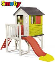 Детский домик на сваях с горкой 150см Smoby 810800