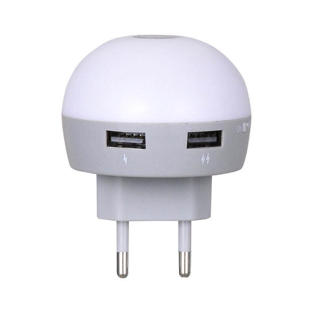 Hoco Mini Night Light Smart Charger H1 - универсальное сетевое зарядное устройство (White)